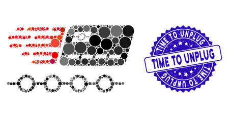 Mosaic rush grace credit periods icon and rubber stamp seal with Time to Unplug text. Mosaic vector is formed with rush grace credit periods icon and with random round elements.