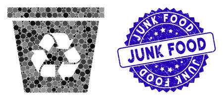 Mosaic recycle bin icon and grunge stamp seal with Junk Food caption. Mosaic vector is composed with recycle bin icon and with random spheric items. Junk Food stamp seal uses blue color, Vettoriali