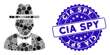 Mosaic spy icon and corroded stamp seal with CIA Spy text. Mosaic vector is composed with spy icon and with randomized circle elements. CIA Spy stamp seal uses blue color, and rubber surface.