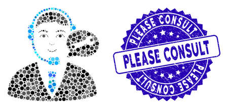 Mosaic support center manager icon and grunge stamp watermark with Please Consult text. Mosaic vector is composed with support center manager icon and with random round spots.