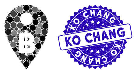 Mosaic Thai Baht map marker icon and grunge stamp seal with Ko Chang phrase. Mosaic vector is composed with Thai Baht map marker pictogram and with randomized round items.