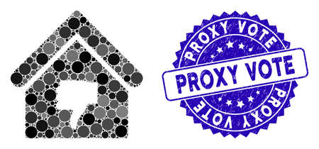 Collage thumb down building icon and distressed stamp seal with Proxy Vote caption. Mosaic vector is created with thumb down building icon and with scattered spheric elements.