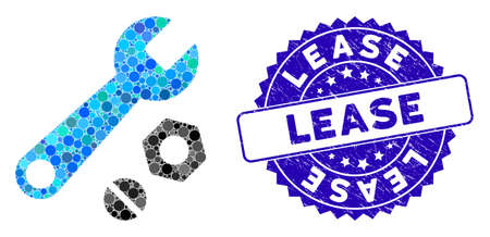 Mosaic wrench and nuts icon and corroded stamp seal with Lease text. Mosaic vector is formed with wrench and nuts icon and with randomized circle spots. Lease stamp uses blue color,