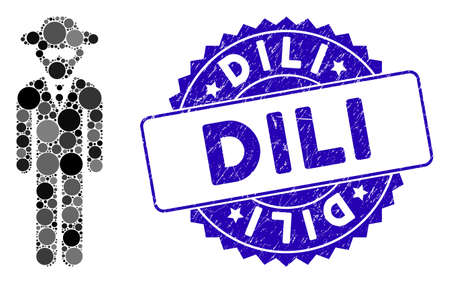 Mosaic security agent icon and distressed stamp seal with Dili text. Mosaic vector is formed from security agent pictogram and with scattered round elements. Dili stamp seal uses blue color, Ilustração