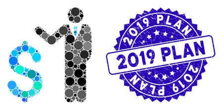 Mosaic banker icon and rubber stamp seal with 2019 Plan phrase. Mosaic vector is formed from banker icon and with scattered spheric items. 2019 Plan stamp uses blue color, and rubber texture. Ilustração
