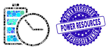 Mosaic battery clock icon and rubber stamp seal with Power Resources phrase. Mosaic vector is formed with battery clock pictogram and with scattered circle elements. Ilustração