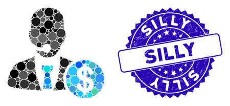Mosaic bank call center icon and rubber stamp seal with Silly caption. Mosaic vector is created with bank call center icon and with randomized round elements. Silly stamp seal uses blue color,