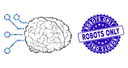 Mosaic brain computer interface icon and corroded stamp seal with Robots Only caption. Mosaic vector is composed with brain computer interface icon and with scattered circle items. Ilustrace