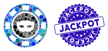 Mosaic anonymous casino chip icon and corroded stamp seal with Jackpot phrase. Mosaic vector is formed with anonymous casino chip icon and with random circle spots. Jackpot stamp seal uses blue color,