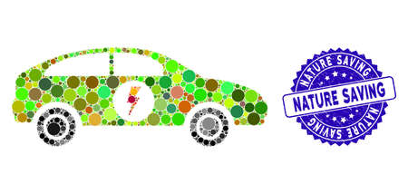 Mosaic electric car icon and corroded stamp seal with Nature Saving phrase. Mosaic vector is formed with electric car icon and with randomized round items. Nature Saving stamp uses blue color,