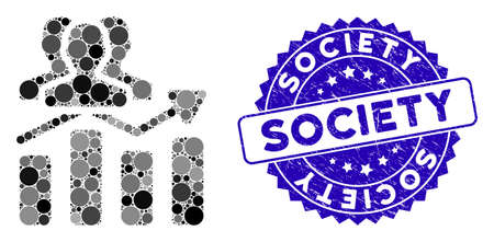 Collage audience chart trend icon and grunge stamp seal with Society phrase. Mosaic vector is formed with audience chart trend pictogram and with random round spots.