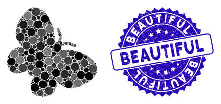 Mosaic butterfly icon and grunge stamp watermark with Beautiful text. Mosaic vector is formed with butterfly pictogram and with random spheric spots. Beautiful stamp seal uses blue color,