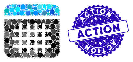 Mosaic calendar icon and grunge stamp seal with Action phrase. Mosaic vector is composed from calendar icon and with scattered spheric items. Action stamp seal uses blue color, and distress design. Stock Illustratie