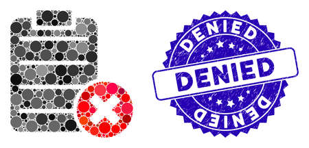 Collage cancel test icon and rubber stamp seal with Denied phrase. Mosaic vector is created with cancel test icon and with scattered spheric spots. Denied stamp uses blue color, and scratched surface. Illusztráció