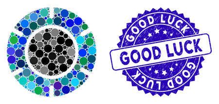 Collage casino chip icon and grunge stamp seal with Good Luck text. Mosaic vector is formed with casino chip icon and with random spheric items. Good Luck stamp uses blue color, and grunge design.