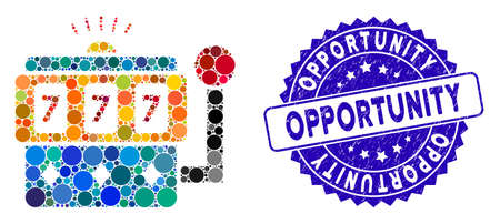 Mosaic casino machine icon and grunge stamp seal with Opportunity text. Mosaic vector is formed with casino machine icon and with randomized circle items. Opportunity stamp uses blue color,
