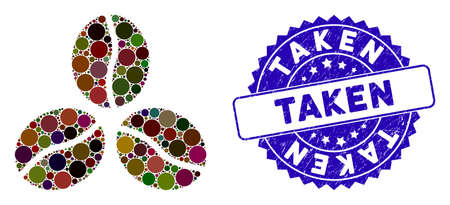 Mosaic coffee beans icon and distressed stamp seal with Taken text. Mosaic vector is designed with coffee beans icon and with randomized circle spots. Taken stamp seal uses blue color,