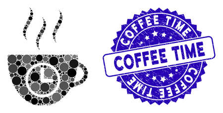 Collage coffee time icon and grunge stamp seal with Coffee Time caption. Mosaic vector is formed with coffee time icon and with scattered spheric items. Coffee Time stamp seal uses blue color,