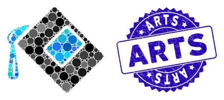 Mosaic color fill icon and distressed stamp seal with Arts caption. Mosaic vector is formed with color fill icon and with scattered circle items. Arts stamp seal uses blue color, and grunge texture.