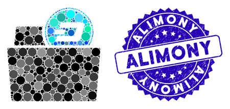 Mosaic Dash folder icon and corroded stamp seal with Alimony caption. Mosaic vector is composed with Dash folder pictogram and with scattered spheric elements. Alimony stamp seal uses blue color,