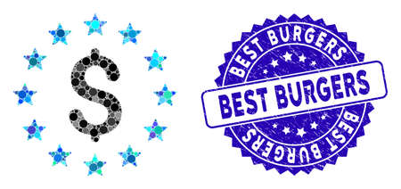Mosaic dollar stars icon and grunge stamp watermark with Best Burgers text. Mosaic vector is formed with dollar stars icon and with randomized spheric spots. Best Burgers stamp uses blue color,