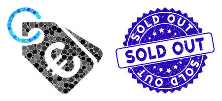 Mosaic Euro price tags icon and distressed stamp seal with Sold Out text. Mosaic vector is created with Euro price tags icon and with scattered round elements. Sold Out seal uses blue color,