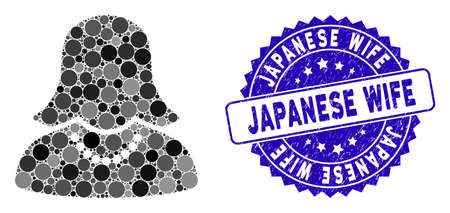 Collage female icon and grunge stamp seal with Japanese Wife phrase. Mosaic vector is formed with female icon and with random round elements. Japanese Wife stamp seal uses blue color,