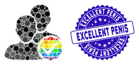 Mosaic for gays only icon and distressed stamp watermark with Excellent Penis caption. Mosaic vector is composed with for gays only icon and with random round spots. Vettoriali