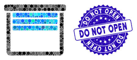 Mosaic garage empty icon and distressed stamp seal with Do Not Open text. Mosaic vector is formed with garage empty icon and with scattered spheric items. Do Not Open stamp seal uses blue color, Ilustração