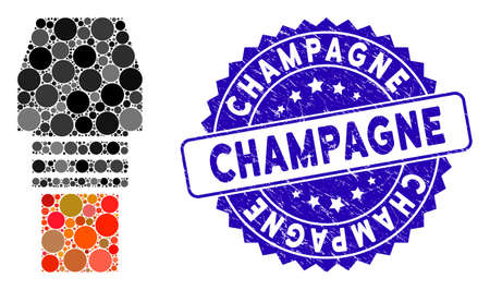Mosaic gas burner nozzle icon and grunge stamp seal with Champagne phrase. Mosaic vector is designed with gas burner nozzle icon and with random spheric spots. Champagne stamp seal uses blue color, Vector Illustration