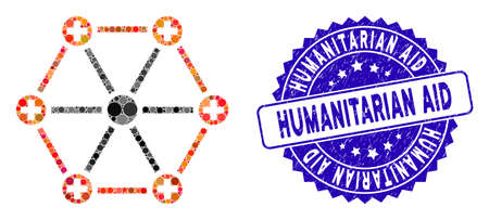 Mosaic medical network icon and grunge stamp seal with Humanitarian Aid caption. Mosaic vector is designed with medical network icon and with random spheric spots.