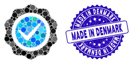 Mosaic valid seal icon and corroded stamp seal with Made in Denmark text. Mosaic vector is designed with valid seal icon and with scattered spheric elements. Vecteurs