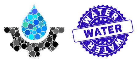 Mosaic water service icon and grunge stamp watermark with Water phrase. Mosaic vector is formed from water service icon and with scattered spheric elements. Water stamp uses blue color, Ilustração