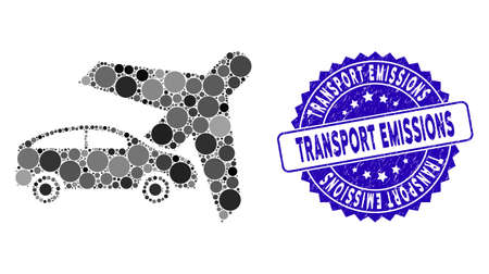Collage transport icon and distressed stamp seal with Transport Emissions text. Mosaic is composed with transport icon and with randomized spheric elements.