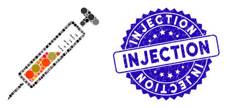 Mosaic injection icon and rubber stamp seal with Injection phrase. Mosaic vector is formed with injection icon and with scattered circle items. Injection stamp seal uses blue color, and dirty design.