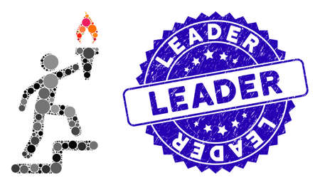 Mosaic leader climb with torch icon and distressed stamp seal with Leader phrase. Mosaic vector is formed with leader climb with torch icon and with randomized round items. Ilustração