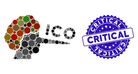 Mosaic ICO liar icon and grunge stamp seal with Critical caption. Mosaic vector is formed with ICO liar icon and with randomized spheric elements. Critical stamp seal uses blue color,