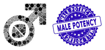 Mosaic male potency tablet icon and distressed stamp seal with Male Potency phrase. Mosaic vector is formed with male potency tablet icon and with random circle elements.