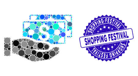 Mosaic pay by cash icon and distressed stamp seal with Shopping Festival text. Mosaic vector is formed with pay by cash icon and with random spheric items. Ilustração