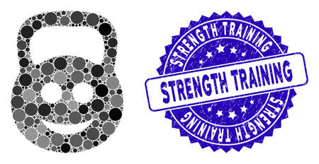 Mosaic smiled ton weight icon and rubber stamp watermark with Strength Training phrase. Mosaic vector is composed with smiled ton weight icon and with scattered round elements. Illustration