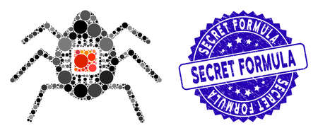 Mosaic spy bug icon and distressed stamp watermark with Secret Formula phrase. Mosaic vector is formed with spy bug icon and with randomized spheric spots. Secret Formula stamp seal uses blue color,