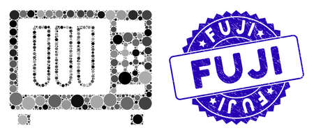 Mosaic sterilizer icon and grunge stamp seal with Fuji phrase. Mosaic vector is formed with sterilizer icon and with scattered round spots. Fuji stamp uses blue color, and grunged texture.