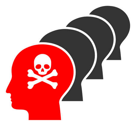 Kill all humans raster icon. Flat Kill all humans pictogram is isolated on a white background.