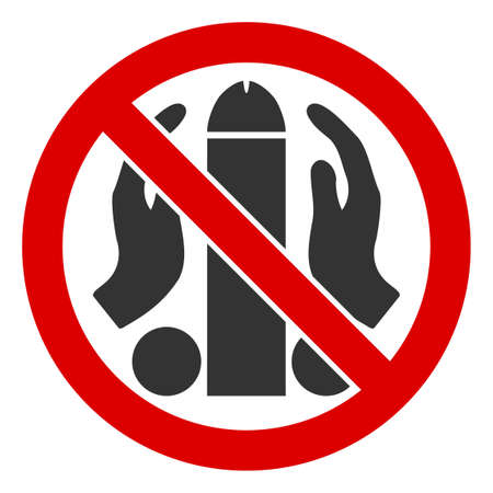 No onanism raster icon. Flat No onanism pictogram is isolated on a white background.