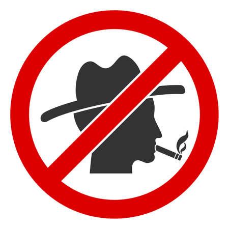 No smoking redneck raster icon. Flat No smoking redneck pictogram is isolated on a white background.