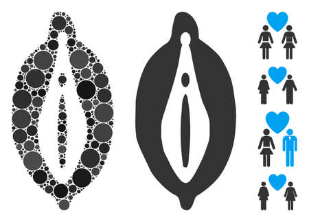 Female genitals mosaic of round dots in variable sizes and shades, based on female genitals icon. Vector round dots are united into flat collage. Dotted female genitals icon. Stock Illustratie