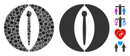 Female genitals mosaic of spheric dots in variable sizes and color tones, based on female genitals icon. Vector dots are grouped into flat mosaic. Dotted female genitals icon.