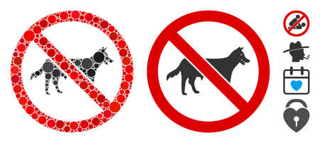No dog composition of filled circles in different sizes and shades, based on no dog icon. Vector filled circles are composed into flat composition Illusztráció