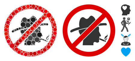 No smoking redneck composition of circle elements in various sizes and color hues, based on no smoking redneck icon. Vector circle elements are organized into flat composition. Illusztráció