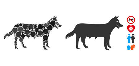 Dog bitch composition of round dots in variable sizes and color tinges, based on dog bitch icon. Vector round elements are organized into flat composition. Dotted dog bitch icon.